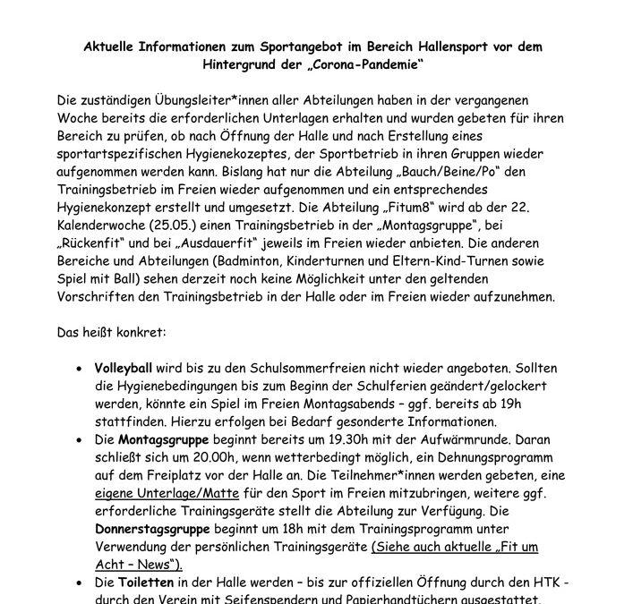 Aktuelle Informationen zum Sportangebot im Bereich Hallensport