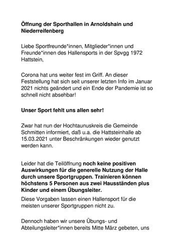 Öffnung der Sporthallen in Arnoldshain und Niederreifenberg (Beschränkt)